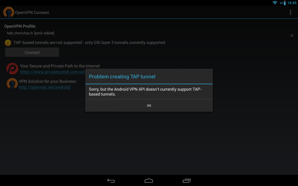 Sorry, but the Android VPN API doesn't currently allow TAP-based tunnels.